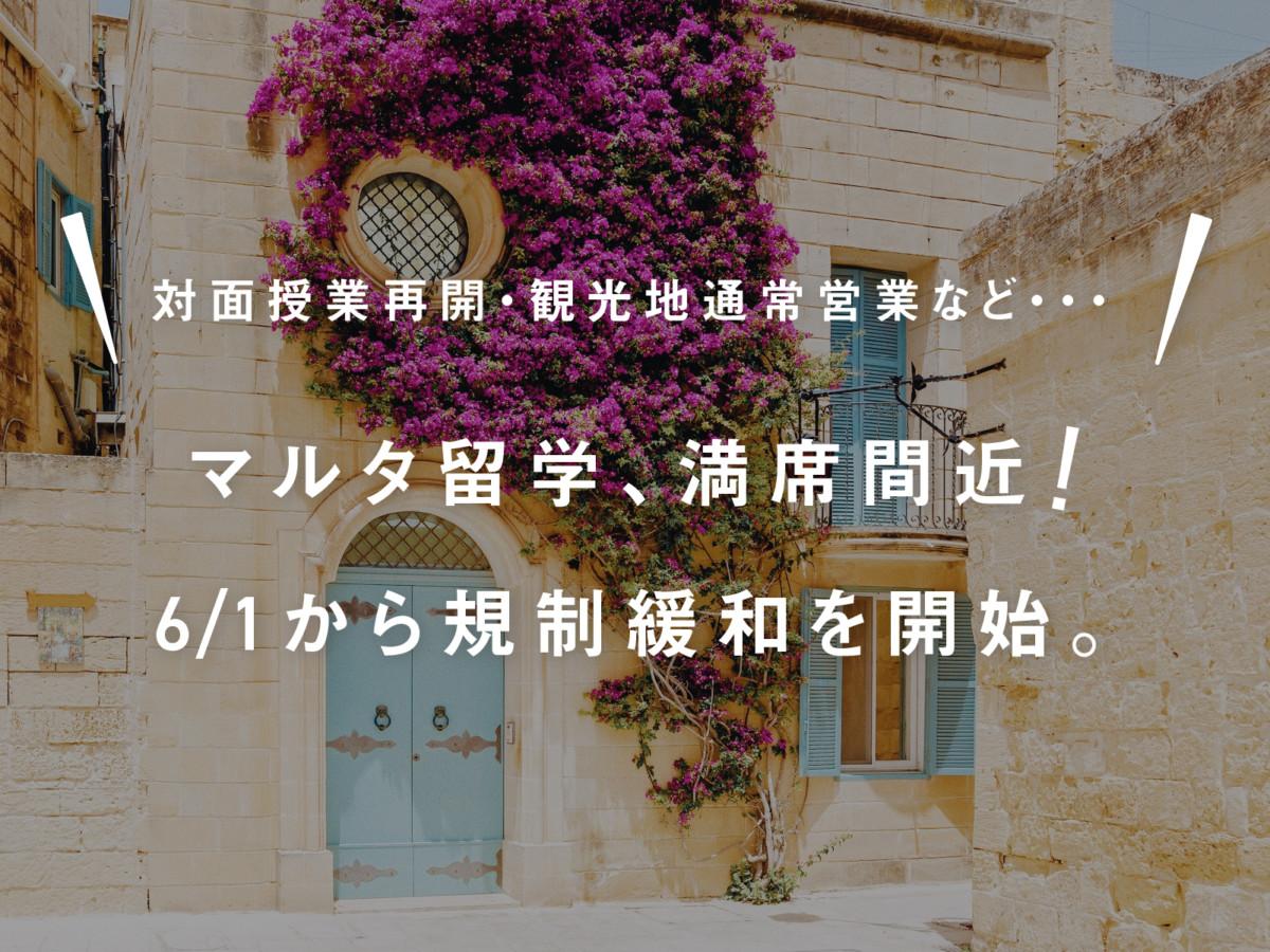 【マルタ留学、満席間近!】6月1日より大幅な規制緩和を開始